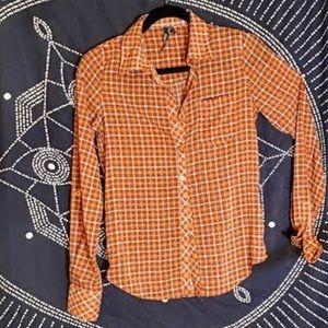 O'Niell plaid burnt orange collared button down